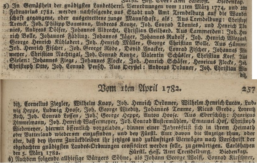 Casselische Polizey- und Commerzien-Zeitung Kassel 1782
